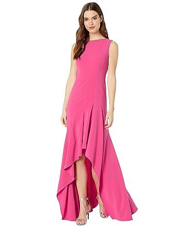 Halston Boatneck Crepe Gown (Azalea) Women
