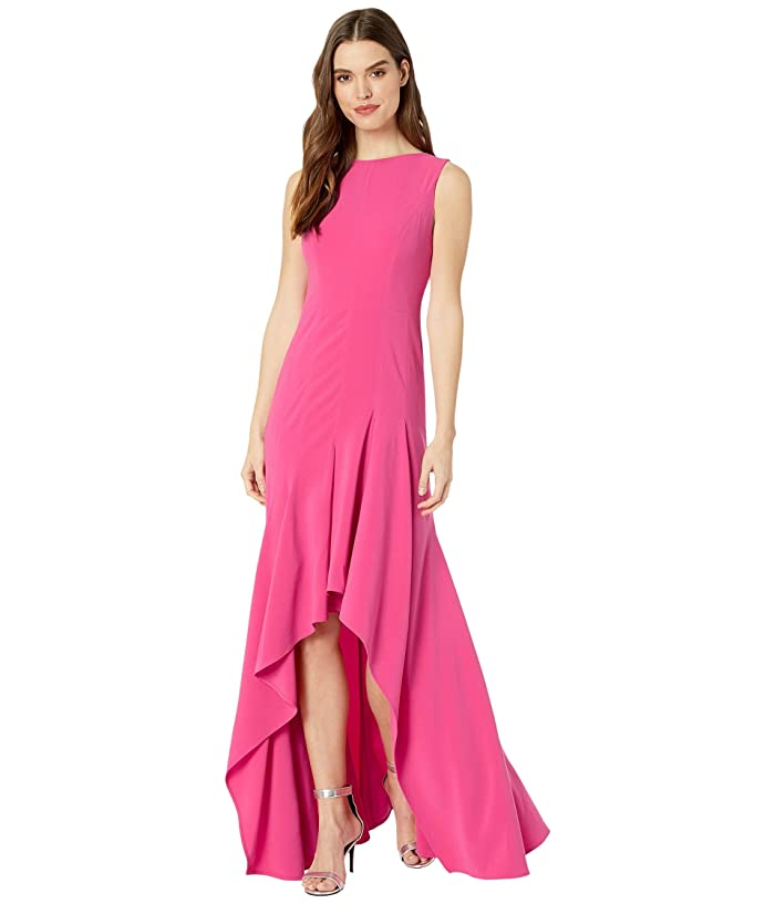 Halston  Boatneck Crepe Gown (Azalea) Womens Dress