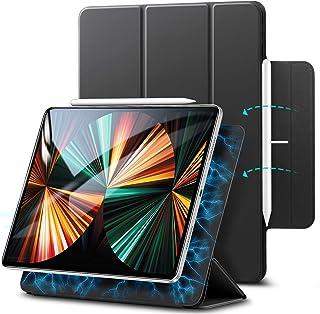 ESR iPad Pro 12.9 ケース 第五世代 5G 2021年モデル 磁気吸着 Apple Pencilのペアリングと充電に対応 オートスリープ ウェイク スリム 軽量 シルク手触り 三つ折りスタンド リバウンドマグネティックスマートケ...