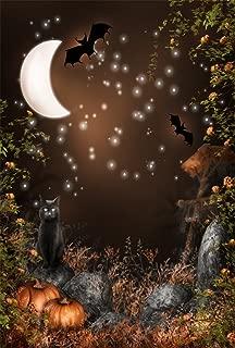 AOFOTO 3x5ft Magic Forest Background Fairytale Fall Moon Night Photography Backdrop Bat Cats Pumpkin Vines Flowers Boy Girl Child Kid Artistic Portrait Gloomy Halloween Photo Studio Props Wallpaper