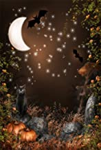 AOFOTO 3x5ft Magic Forest Background Fairytale Fall Moon Night Photography Backdrop Bat Cats Pumpkin Vines Flowers Boy Girl Child Kid Artistic Portrait Gloomy Halloween Photo Studio Props Wallpaper