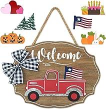 Winder Truck Welcome Sign for Front Door Decor, Red Truck Decor with Seasonal & Interchangeable Wooden Wall & Door Decor S...