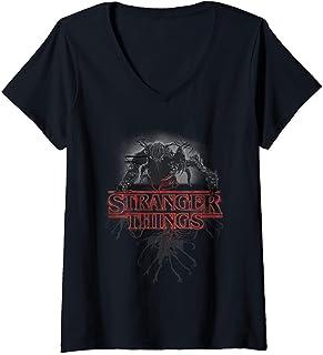 Femme Stranger Things Demogorgon Glow Logo T-Shirt avec Col en V