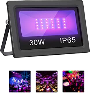 UV LED Black Light, Mrhua Outdoor High Power 30W Ultra Violet LED Blacklight Floodlight, IP65-Waterproof for Dance Party, DJ Disco Night Clubs, Fluorescent Paint, Glow in The Dark Party Supplies
