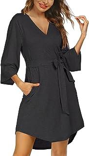 Ekouaer Women Kimono Robes Lightweight Short Robe Soft V-Neck Sleepwear Ladies Casual Loungewear S-XXL