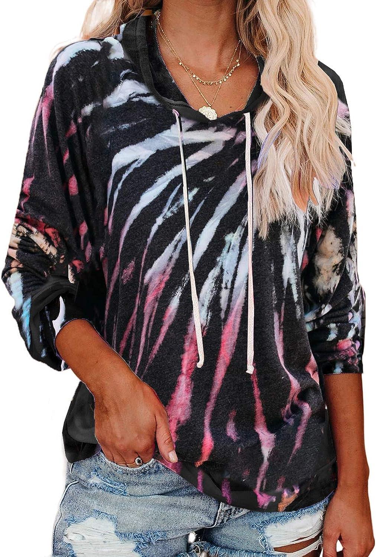 ROSKIKI Womens Casual Long Sleeve Hoodies Pullover Sweatshirt Colorblock Tie Dye Print Tops