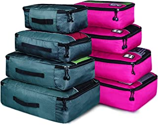 Packing Cubes, Idesort Travel Luggage Organizer Mixed Color Set(Grey/Rose)