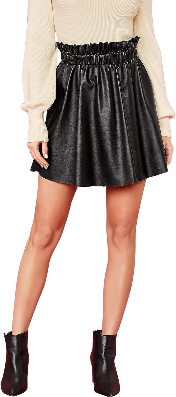 DIDK Women's Frilled High Waist A Line PU Short Skirt