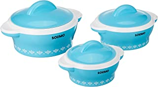 Amazon Brand - Solimo Inner Steel Casserole, Set of 3 (450/900/1450ml), Blue