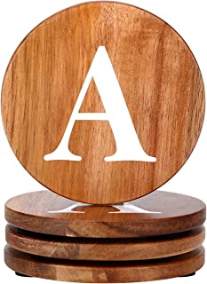 Wood Coasters Set, Natural Wooden letters Coasters for Drinks, Set of 4 Wood Coasters, Wedding Coasters, Personalized Coasters Customizable with Name, Monogrammed Letter A