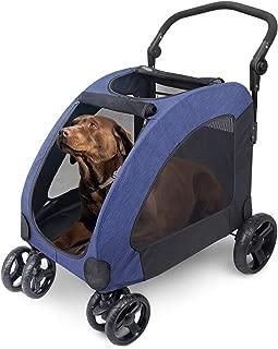 ペットカート 犬用 キャリーカート ペットバギー 折りたたみ式 大型犬 多頭中小型犬 犬用 猫用 ドッグカート-ブルー (ブルー)
