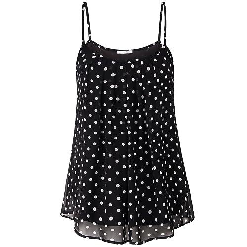 9f4a3679863 Messic Women s Summer Sleeveless Pleated Chiffon Blouse Aline Cami Tank Top
