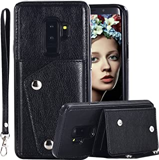 Galaxy S9 Plus Wallet Case for Men/Women,Auker 4 Card Holder Premium Flip Leather Magnet Back Wallet Case with Strap&Cash Pocket Fold Kickstand Slim Fit Protective Purse for Samsung S9 Plus (Black)