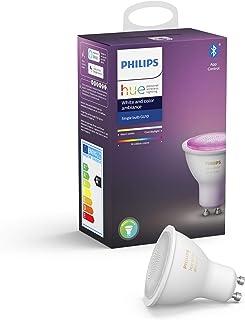 Philips Hue Bombilla Inteligente LED GU10, con Bluetooth, Luz Blanca y Color, Compatible con Alexa y Google Home