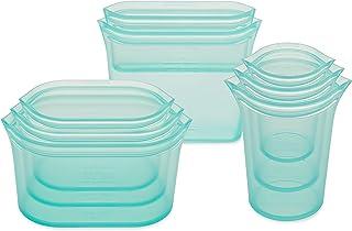 Zip Top Herbruikbare 100% siliconen voedsel opbergzakken en containers - volledige set - 3 kopjes, 3 gerechten & 2 zakken...