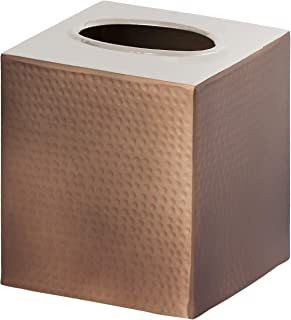 Gramercy Accents, Heavyweight Brass, Hammered Bronze Finish with Silver Hammered Top, Boutique Tissue Box Cover, 4.75 Inches by 5.5 Inches