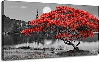 """تابلو نقاشی دیواری بوم بوم نقاشی یک قرمز رنگ Lake Lake Moon یک تابلو با ابعاد بزرگ و بزرگ ، مدرن پانورامای مدرن برای چاپ در نمای داخلی برای دکوراسیون داخلی ، نقاشی دیواری ، آماده آویز ، قاب چوبی 60 """"x30"""""""