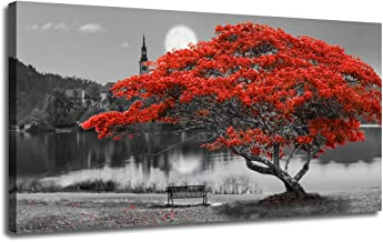 Canvas Wall Art Painting Red Tree Lake Moon Picture One Panel Extra Large Size, Modern Panoramic Landscape Artwork Prints for Home Office Mural Décor, Ready to Hang, Wooden Framed 60
