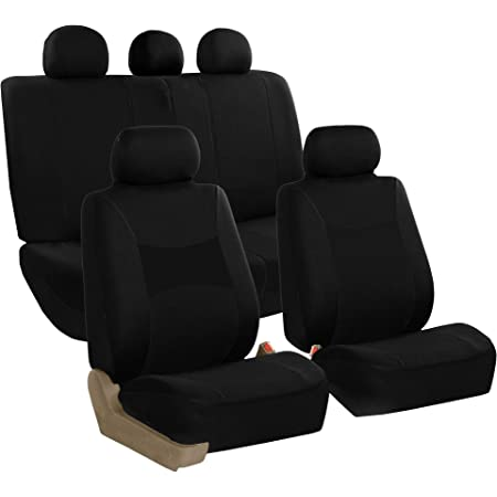 SUV or Van FH Group Gray-Half FB064GRAY102 Cross Weave Fabric Pair Set Seat Covers Truck Airbag Compatible Black-Universal Car