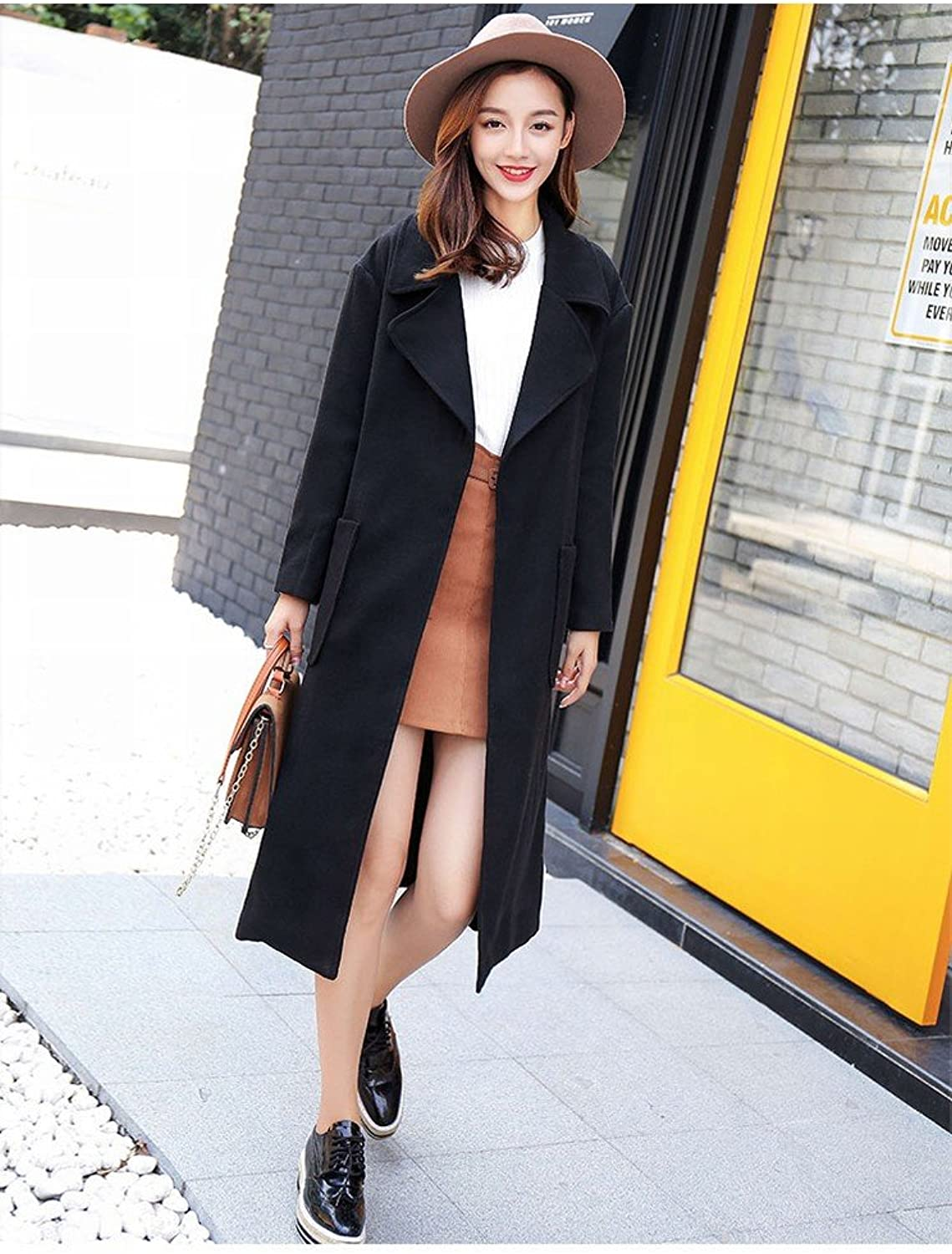DEED Women's CoatAutumn and Winter Fashion Lengthened Paragraph Thickening Warm Woolen Coat Long Coat