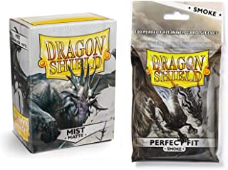 Dragon Shield Bundle: Matte Mist 100 Count Standard Size Deck Protector Sleeves + 100 Count Smoke Inner Card Sleeves