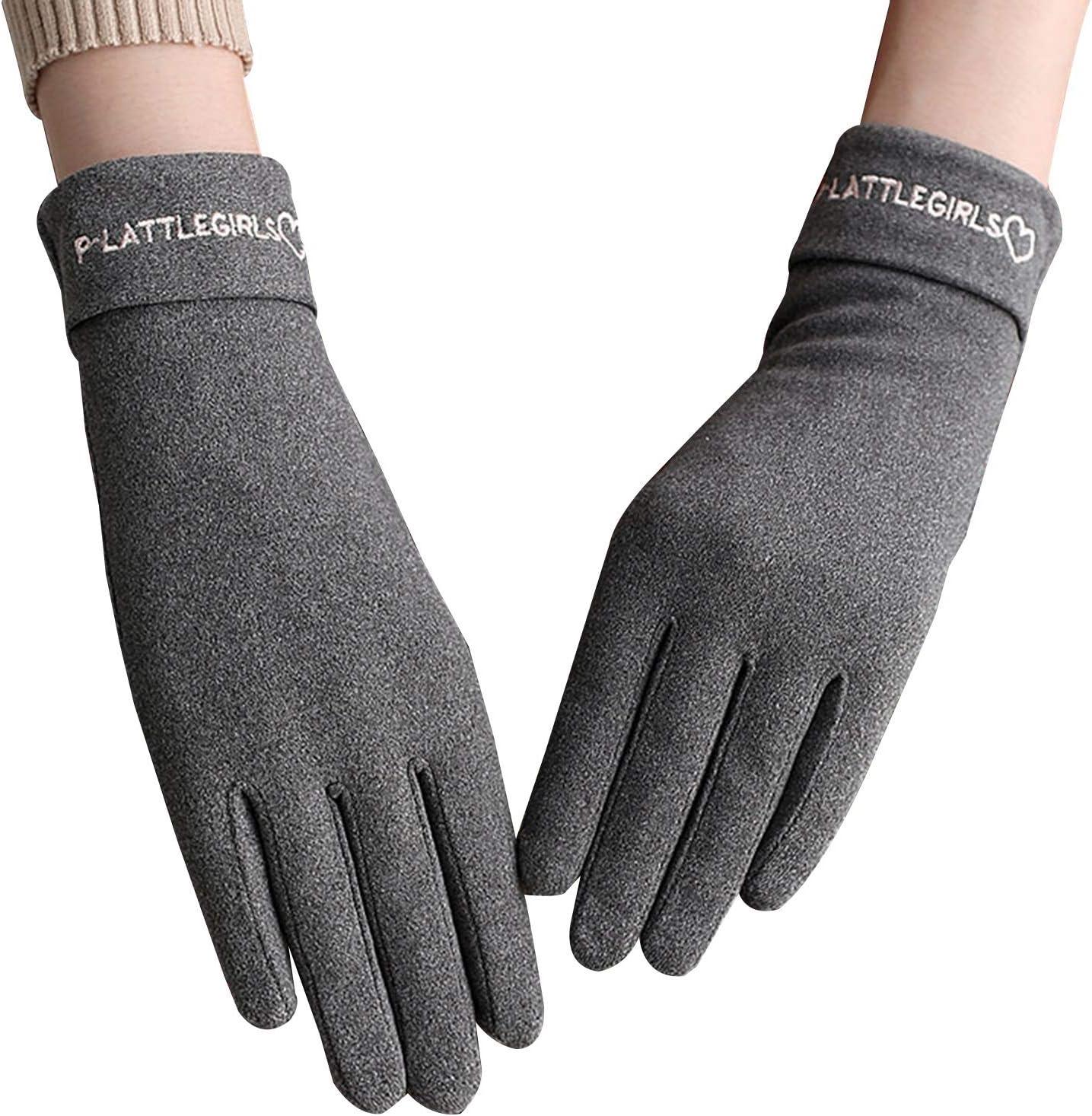 Gloves Women's Winter Gloves, Plus Velvet Thick Touch Screen Gloves, in 1 Size (Color : Gray)