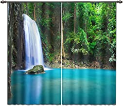 LB 3D Blackout Curtains for Bedroom and Living Room, Window Curtains with Image of Peaceful Green Asian Woods and Waterfall 104X95 Inches (2 Panels Size)