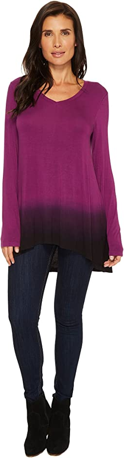 Mod-o-doc - Rayon Spandex Jersey Dip-Dye Back Pleat Long Sleeve Tee
