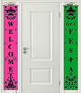 Rainlemon Welcome Let's Fiesta Porch Banner Cinco de Mayo Papel Picado Mexican Front Door Sign Decoration Party Supply