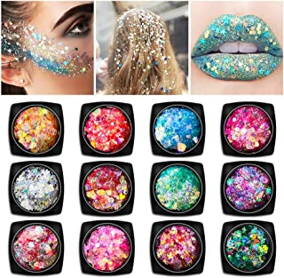 12 Boxes Holographic Self-adhesive Body Glitter - Face Body Eye Hair Nail Festival Chunky Glitter Cosmetic - Different Size Colorful Mixed Palette - No Need Extra Gel