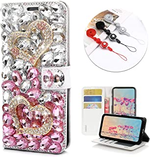 STENES Bling Wallet Case Compatible with Google Pixel 3a - Stylish - 3D Handmade Crystal Heart Magnetic Wallet Leather Cover with Neck Strap Lanyard [3 Pack] - Pink