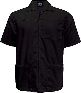 Mens Zippered Short Sleeve Scrub Jacket and Barber Shirt