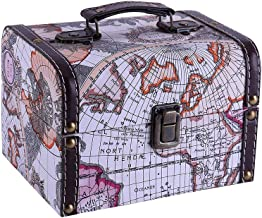 WaaHome Vintage World Map Treasure Chest Decorative Wood Jewelry Keepsakes Boxes for Kids Gifts,Home Decorations (7.1''X5.6''X4.7'')