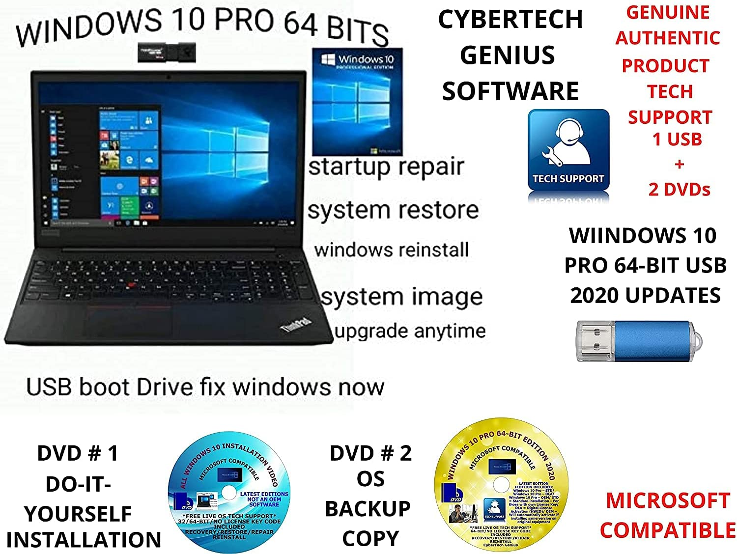 WINDOWS 10 PRO LATEST EDITION 2020 64-BIT USB + 2 FREE DVDs 1 DO-IT-YOURSELF INSTALL/REINSTALL VIDEO & 1 BACKUP COPY. UPGRADE RECOVERY FIX RESTORE REPAIR BOOT LIVE TECH SUPPORT COMPATIBLE TO MICROSOFT