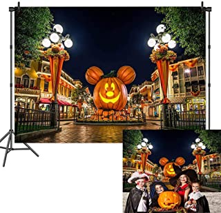 Halloween Pumpkin Theme Photography Backdrops Cartoon Mouse Pumpkin Head Photo City Night Street Scenery Background for Halloween Jack Birthday Party Decoration Banner Studio Props Vinyl 7x5ft