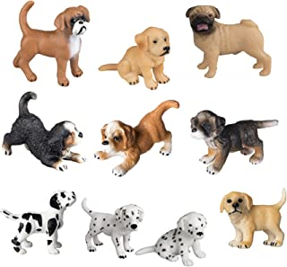 TOYMANY 10PCS Dog Figurines Playset, Realistic Detailed Plastic Puppy Figures, Hand Painted Emulational Dogs Animals Toy S...