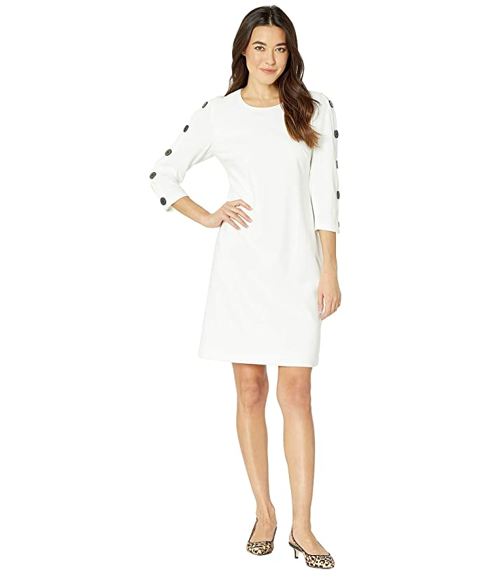 Vince Camuto Long Sleeve Crepe Ponte Dress w/ Sleeve Button Detail (Pearl Ivory) Women