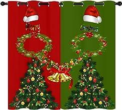 Kerst Gordijn, Vrolijk Kerstbomen Klokken Rood en Groen Mannen en Vrouwen Verduisterende Gordijn Kamer Versieren Raamgordi...