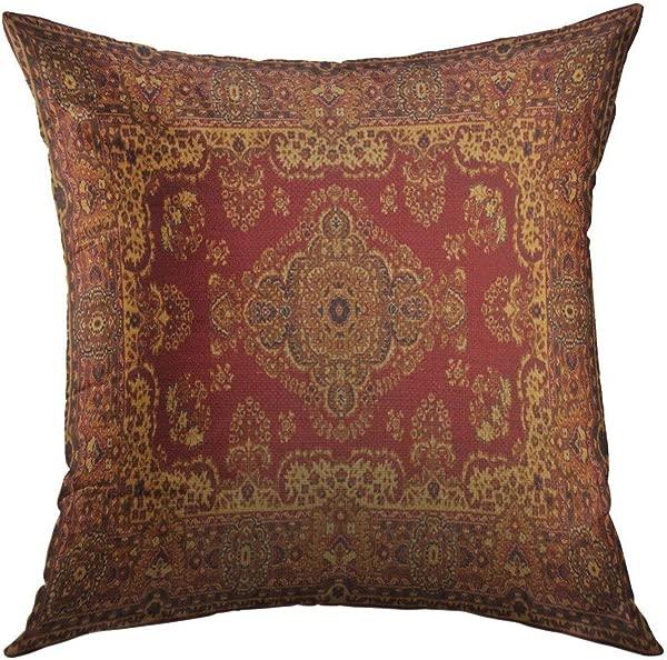 Mugod 装饰抱枕套沙发沙发红色东方波斯地毯旧皇家家居装饰枕头套 18x18 英寸