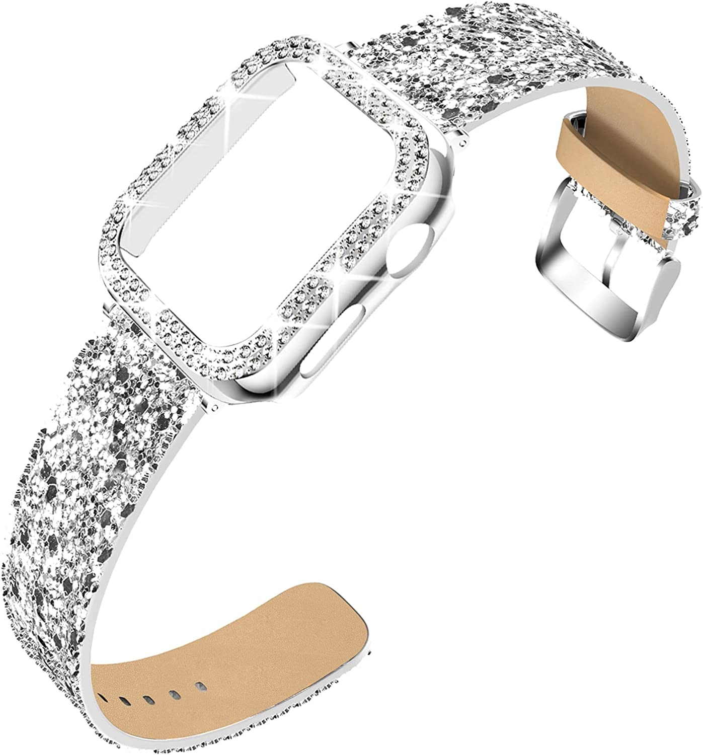 DABAOZA Compatible for Apple Watch Band 38mm 42mm with Case, Bling Women Glitter Leather Strap Sparkle Replacement Wristband with Dressy Crystal Bumper Cover for iWatch Series 3 2 1