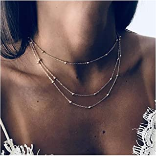TseanYi Boho Satellite Chain Necklace Gold Layering Dew Drop Necklace Choker Vintage Neck Chain Jewelry for Women and Girls
