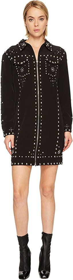 Studded Crepe Moto Dress