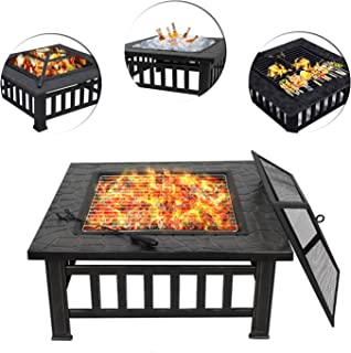 ZENY Outdoor 32'' Metal Fire Pit BBQ Square Table Backyard Patio Garden Stove Wood Burning Fireplace with Spark Screen,Poker,Cover,Grill