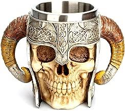 Buedvo Christmas Cup Viking Ram Horned Pit Lord Warrior Skull Coffee Mug, Double Handle Horn Skull Beer Cup Resin Striking Warrior Tankard Mug Medieval Skull Drinkware Bar Cup Norse Mythology Decor