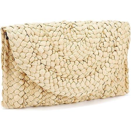 iPobie Stroh Clutch Geldbörse, Damen Stroh Handtasche Umschlag Tasche Brieftasche Sommer Strandtasche
