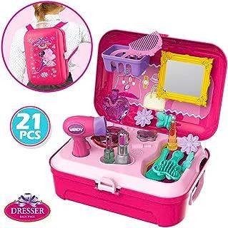 Little Girls Play Makeup Set - Pretend Salon Beauty Makeup Kit for Toddlers Kids Vanity Case Dress Up Toys Travel Playset