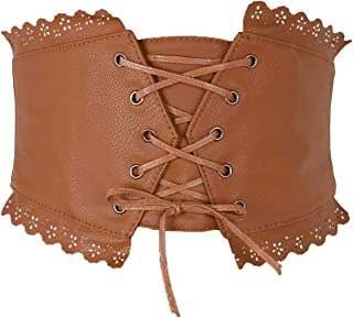 Ayliss Womens Elastic Wide Band Lace-Up Corset Cinch Belt with Press Button