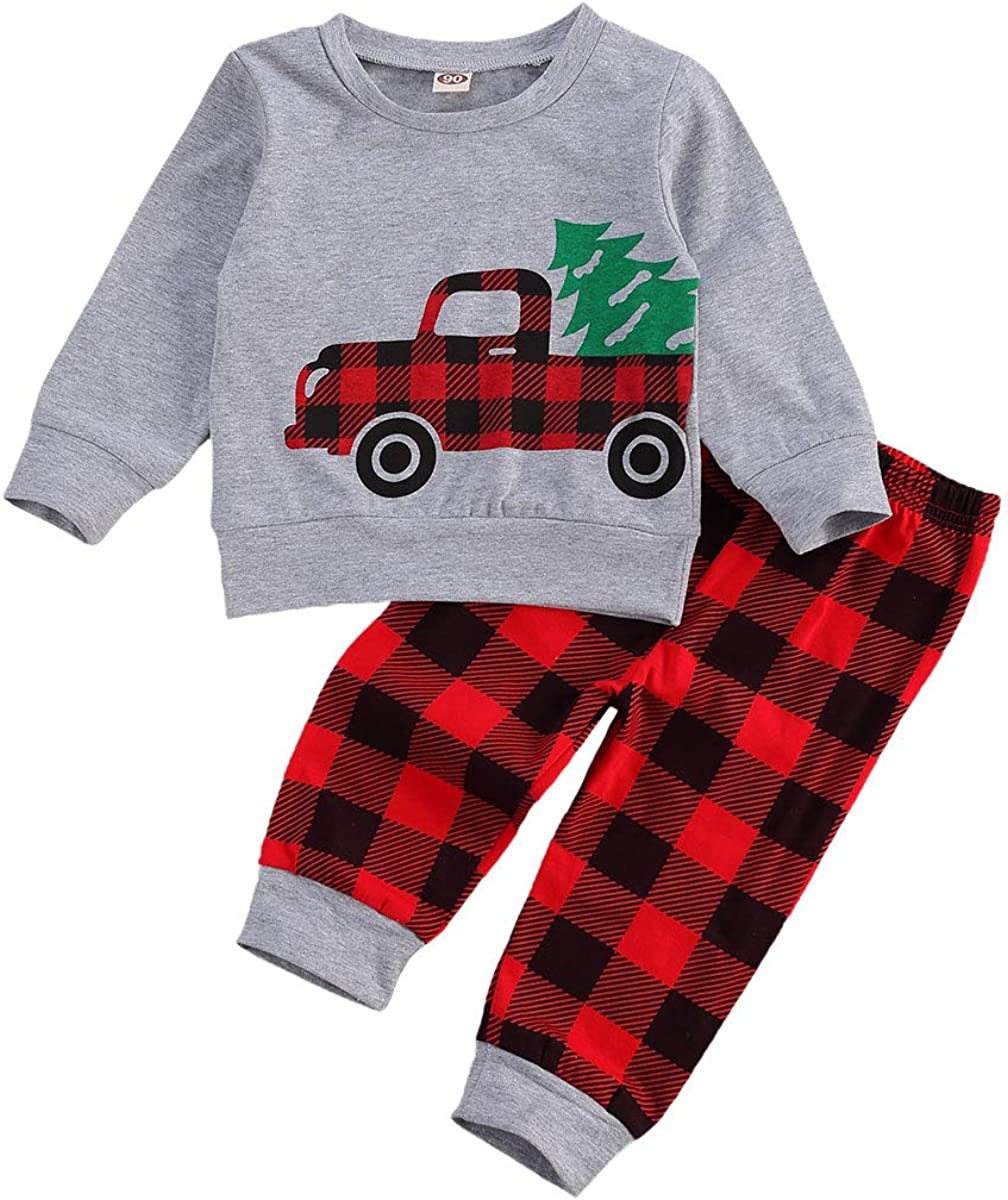 Toddler Baby Boy Girl Long Sleeve Cotton Plaid Pullover Sweatshirt+Trousers Two Piece Outfit Set Fall Winter Clothes