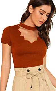 Romwe Women's Scalloped Cut Out V Neck Short Sleeve Sexy Tee Tops