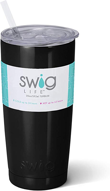 Swig Life Stainless Steel Triple Insulated 20oz Tumbler With BPA Free Slide Closure Lid And Reusable Straw In Black